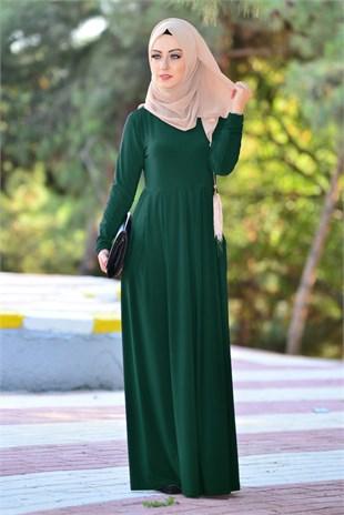 asker yeşili pileli elbise