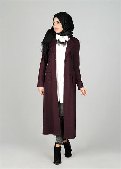 uzun bordo renkli ceket modeli