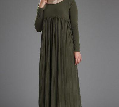 Pileli Tesettür Giyim Elbise Modelleri