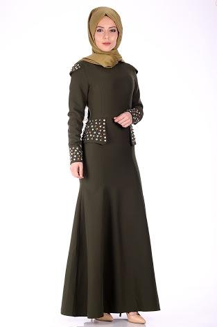 asker yeşili abiye elbise modeli