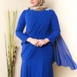büyük beden mavi elbise