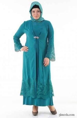 büyük beden mavi elbise modeli