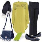 Limon sarisi tunik siyah pantolon kombini