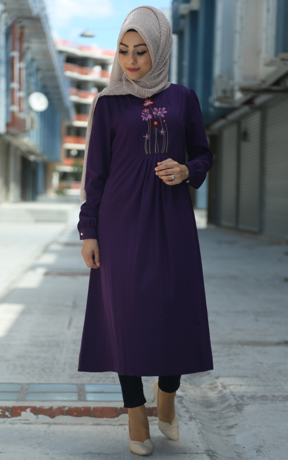 patlıcan rengi elbise modeli