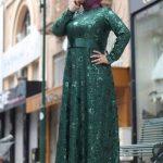 yeşil anne elbisesi modeli