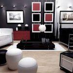 kırmızı beyaz ve siyah salon dekorasyonu