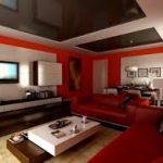 kırmızı ve siyah dekorasyon kormizi koltuk ve duvar uyumu