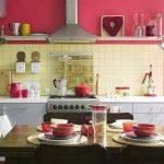 pembe mutfak duvarları