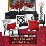 siyah kırmızı ve beyaz renk salon dekorasyon modelleri