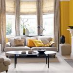 beyaz ev dekorasyonunda sarı duvarlar