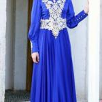 gece mavisi elbise dantelli