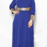 kilolu bayanlar için saks mavisi elbise