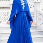 pelerinli saks mavisi elbise