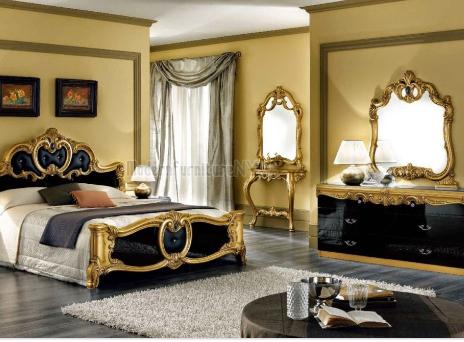 altin rengi ve siyah uyumu yatak odası