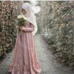 güpür detaylı gül kurusu elbise