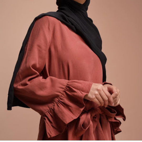 Kiremit rengi ispanyol kol gomlek modeli siyah sal