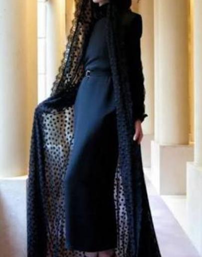 Siyah tul abaya lacivert elbise