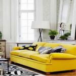 siyah beyaz sarı uyumu salon