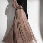 uzun vizon rengi elbise