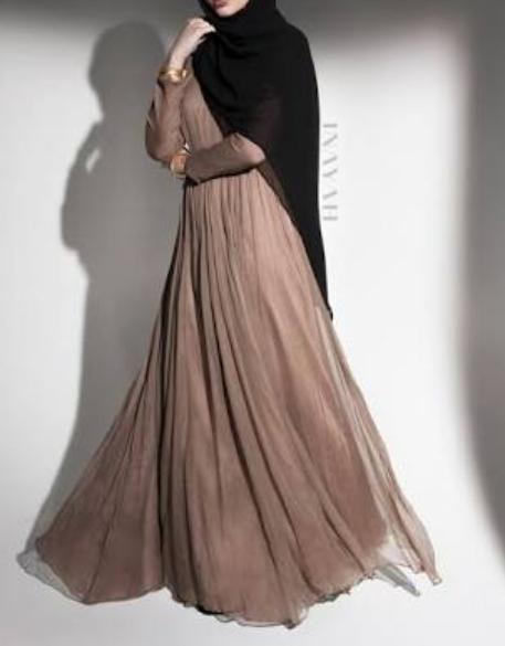 Vizon rengi uzun elbise modeli siyah sal