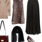 Vizon rengi bluz leopar desenli yelek modeli siyah etek